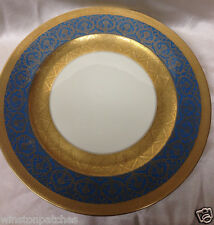 """ROSENTHAL IVORY 10.5"""" DINNER PLATE GOLD ENCRUSTED FILIGREE W TURQUOISE BLUE BAND"""