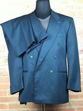 Jacobsons Dark Green Double Breasted 2 Pc Suit Mens 44 36W 31L