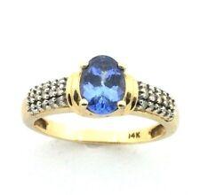 Mujer,14 quilates/14 Quilates anillo de oro set una con tanzanita+diamantes GB