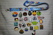 Disney trading 25 pin lot + Lilo & Stitch LANYARD Hidden Mickey Star Wars Tsum
