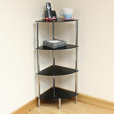Hartleys 4 Tier Black Glass Corner Side/End Table Shelf/Display Unit Lounge/Hall