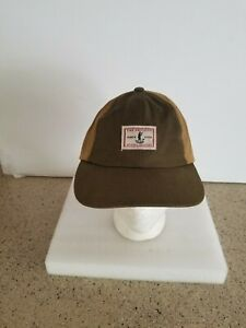 Orvis Mens Adjustable Strapback Truckers Hat Brown , With Bird Hunting Patch