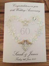 Handmade Personalised 60th Diamond Wedding Anniversary Card Beautiful
