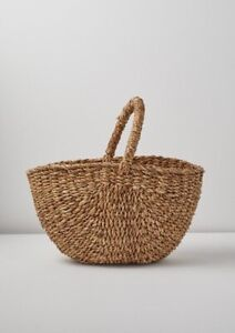 New Wicker Seagrass Jute Basket Fair Trade Fruit Picking Basket Shopper Bag
