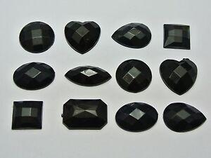 100 Jet Black Assorted Shape Flatback Acrylic Rhinestone Gems No Hole