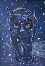 New ListingAceo Orig. Winter Snow Storm Magic Black Cat Cats Felines Impressionism