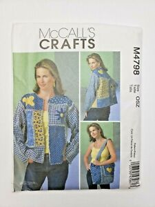 McCalls M4798 Sewing Pattern Chenille Jacket Tote Bag  UNCUT