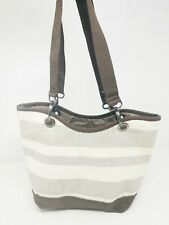 Thirty-One Canvas Small Purse Ivory Beige Stripe Brown Bag Tote Handbag Woven