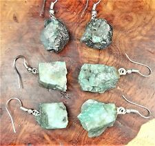 Emerald Earrings Raw Green Gemstone Jewelry LR44 Healing Crystals And Stones