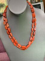 "Vintage  Bohemian  Two Strand Brick Red Jasper All Stone Necklace  20"" Long"