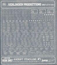 ZF1193 Verlinden 1//32 1//48 decal maquette 3248-01 Aircraft Stencilling 1 avion