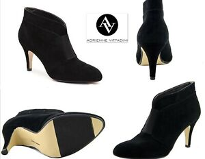 """NEW Adrienne Vittadini 8 Booties Black Suede Leather Ankle Boots 3"""" high heel 8M"""