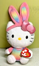 Ty Hello Kitty Easter Beanie Babies Plush Rainbow Bunny Ears & Shirt 2013 NWT