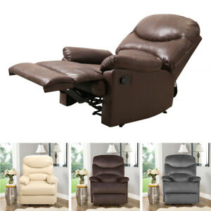 Leather Recliner Armchair Lounge Chair Velvet Reclining Cinema Studio Sofa Seat