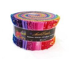 "Laurel Burch Basics Felines horses Rainbow Fabric Jelly Roll Quilt strips 2.5"""