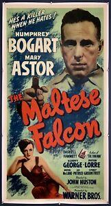 MALTESE FALCON On Linen Three Sheet Movie Poster 1941 Humphrey Bogart FILM NOIR!