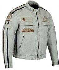 Blouson En Cuir Moto Homme, Vintage, Cafe Racer, Lederjacke, Retro, Gris, Biker