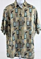 Pierre Cardin Men's Medium Short Sleeve Aloha Shirt Pineapples & Martini's