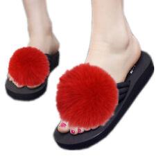 beautiful real Farming fox Fur ball Flat Shoes shaggy Flip Flop Slipper Sliders