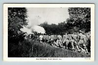 Camp Grant IL Army Soldiers Practice Gas Defense WWII c1942 Illinois Postcard