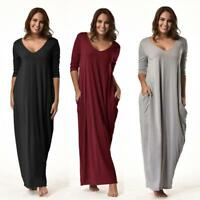 New Women Plus Size Dresses 3/4 Sleeve V-Neck Casual Long Loose Party Dress