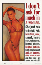 LOT OF 2 POSTERS : COMICAL : I DON'T ASK FOR MUCH IN A WOMAN   #2977     RW7 K
