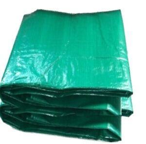 2 X LARGE GREEN TARPAULIN GROUND SHEET WATERPROOF COVER  12ft x18ft - 3.5 x 5.4M