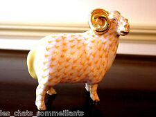 HEREND, ENGLISH RAM with GOLDEN HORNS FIGURINE, BUTTERSCOTCH, FLAWLESS, $490