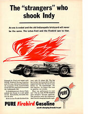 1963 LOTUS-FORD INDY CAR / JIMMY CLARK  ~  ORIGINAL PURE GASOLINE AD