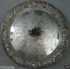 VINTAGE SILVER PLATE TRAY HEAVY EMBOSSED  GRAPES/LEAVES RIMS,ETCHED,SHERIDAN