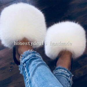White- Max Large XXL Real Fox Fur Slides Slippers Sandals Shoes Sliders