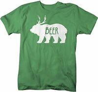 Shirts By Sarah Men's Funny Bear Plus Deer Beer T-Shirt Drinking Shirts Hipster