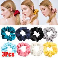 3Pcs/Set Elastic Hair Bands Silk Satin Scrunchie Hair Ties Ponytail Holder Ropes