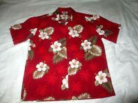 Pacific Legend Men's XL Authentic Hawaiian Shirt Floral Pattern 100% Cotton Red