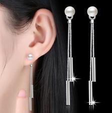 Korean Women Pearl Ear Stud Drop Dangle Long Chain 925 Sterling Silver Earrings