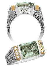 PHILIP ANDRE 18K Gold & Sterling Silver Prasiolite & Diamond Designer Ring sz 7