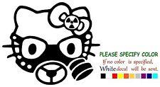 "HELLO KITTY GAS MASK ZOMBIE Adhesive Vinyl Decal Sticker Car Truck Window 9"""