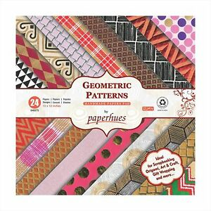 """Paperhues Geometric Patterns Scrapbook Papers 12x12"""" Pad, 24 Sheets."""