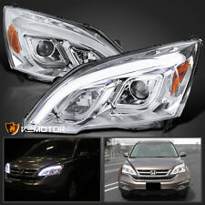 For 2007-2011 Honda CRV CR-V LED DRL Chrome Projector Headlights Left+Right