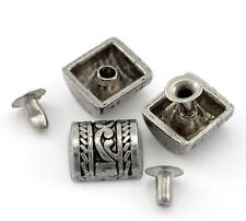 "Pkg of 10 Silver-tone Carved Barrel Half Metal Rivet Studs 3/8"" x 3/8"" (21817)"