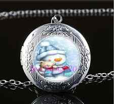 Christmas Snowman Photo Cabochon Glass Tibet Silver Locket Pendant Necklace
