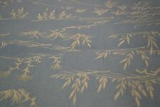 Japanese Woollen Fabric - light blue with white scene design 1022