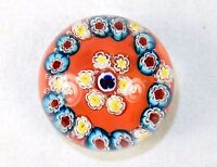 Vintage Glass Paperweight, Murano Millefiori Design, Cloverleaf Center, Red Base