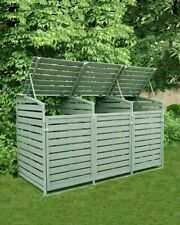 More details for triple wooden wheelie bin store storage grey garden cover recycling outdoor l...