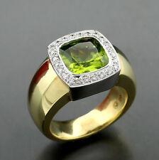 Brillante-anello peridoto 4,35 carat oro giallo-585 16 Gramm pesantedisco rigido