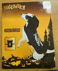Halloween Skeleton Dog Costume Pet Fancy Dress Fun Scary Cosplay Party Outfit