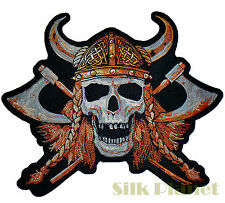 "8x10"" Viking Skull Axe Warrior Head Motorcycle Biker Back Patch MC Vest Outlaw"