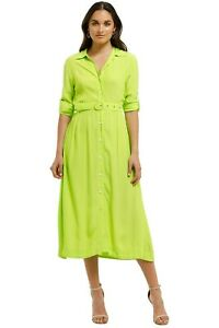 SWF SWF Lime LS Shirt Dress Size 12 Midi Length