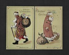 Two Vintage Santa Postcards German And US Versions Brown Robe Stitched Sack