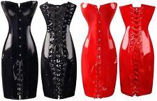Sexy Damen Korsagen-Kleid Korsett Lack Wetlook Kostüm Leder Glanz